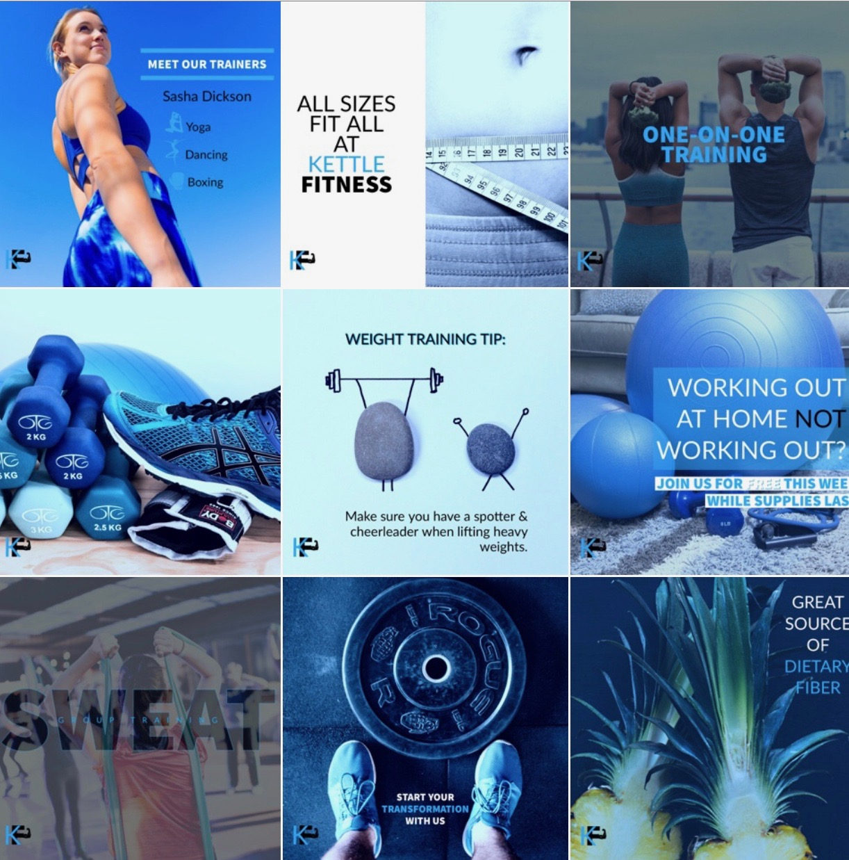 Kettle Fitness, Instagram Grid, fitness brand, Optimal Octopus