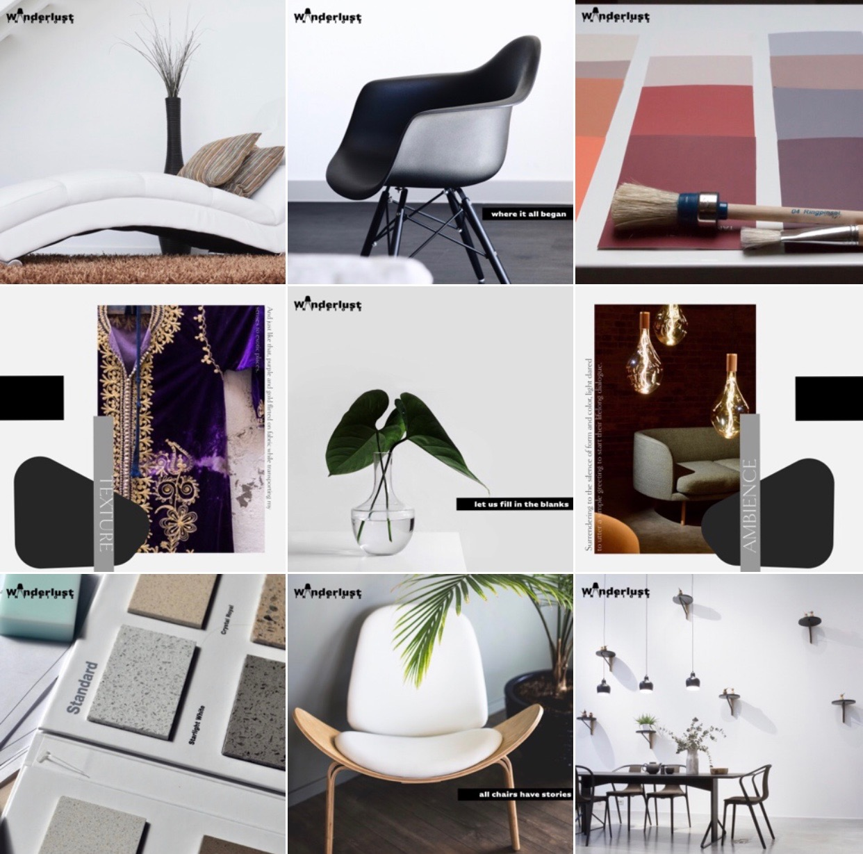 Wanderlust Interiors, Instagram Grid, interior design brand, Optimal Octopus