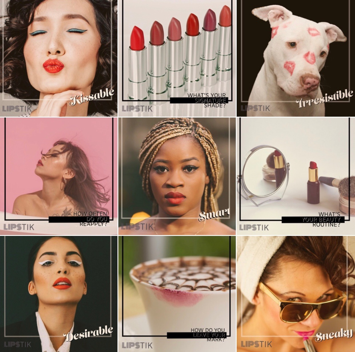 Lipstik, Instagram Grid, beauty brand, Optimal Octopus