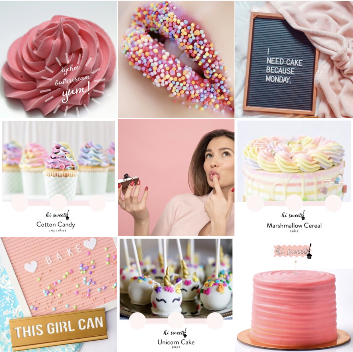 hi sweets!, Instagram Grid, cake shop, Optimal Octopus