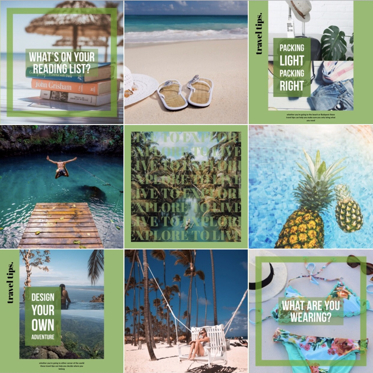 Tourism, Instagram Grid, Travel Company, Optimal Octopus